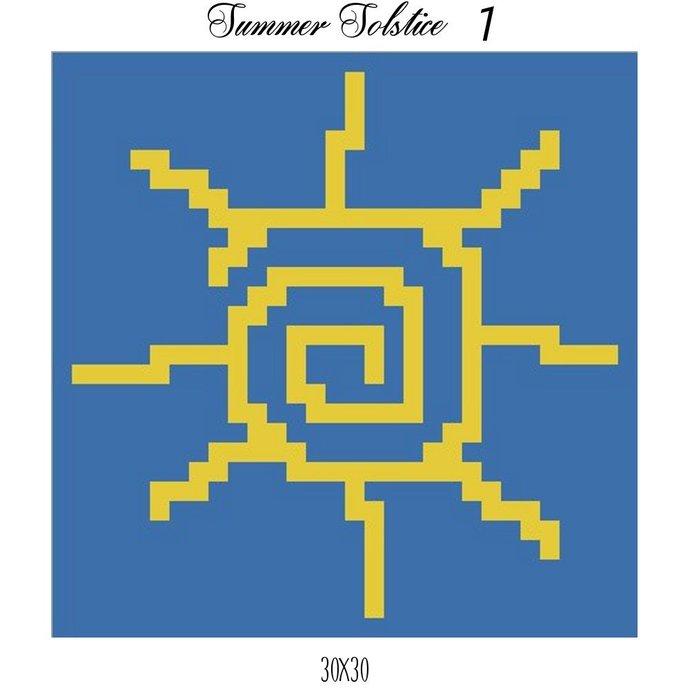 Summer Solstice Dishcloth Crochet Graph Pattern