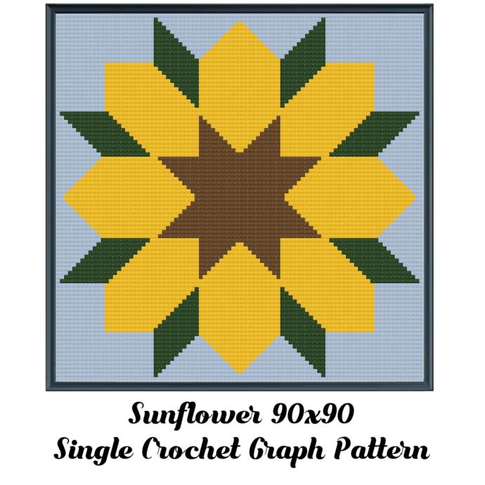 Sunflower Pillow Crochet Graph Pattern