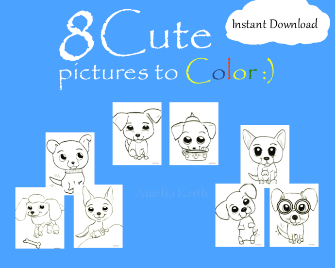 PRINTABLE_Pets the puppy edition_8 COLORING SHEETS by Amelia Keith||For Kids and