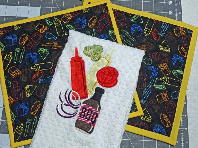 3 Piece BBQ and Grilling Pot Holders with Grilling Towel Embroidered with