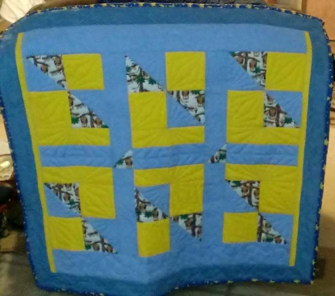 Handcrafted Blue and Yellow Wise Owl Quilt Made of Cotton and Flannel Fabric.