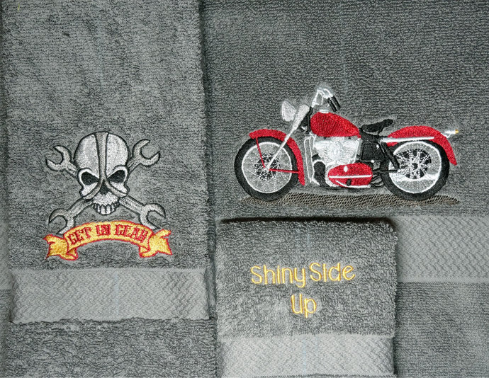 3 Piece Gunmetal Gray Motorcycle Theme Towel Set, Soft and Absorbent