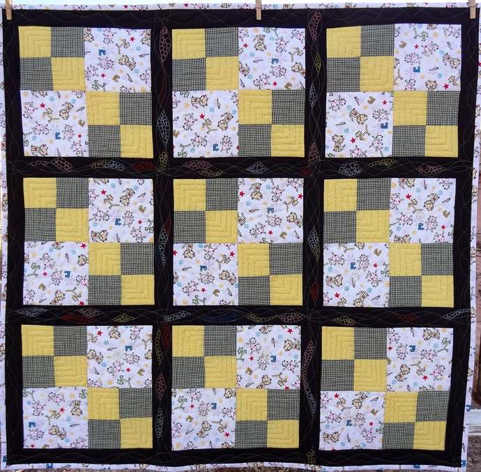 """Cartoon Kitty Quilt 43"""" square, cotton fabrics, flannel backing, free motion"""