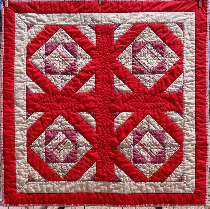 Lightweight Quilt/Blanket in Hues of Assorted Red and Browns, 32 inches Square,