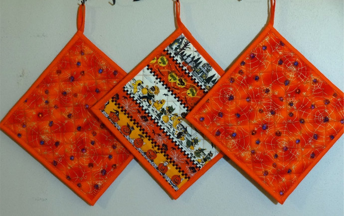 Halloween Themed  3 piece set of potholders