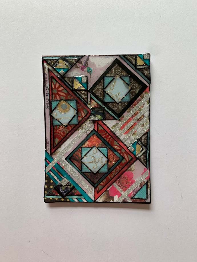 """ATC ACEO 2.5"""" x 3.5"""" small works of art Paper Collage#5004"""