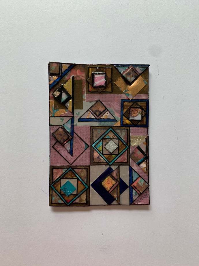 """ATC ACEO 2.5"""" x 3.5"""" small works of art Paper Collage#5002"""