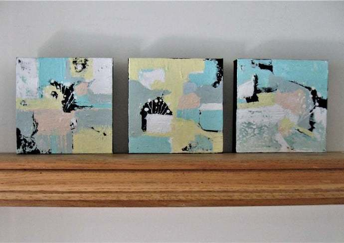 """Triptych, 3 original Acrylic Abstract Paintings, 8"""" x 8"""" each, small art canvas,"""