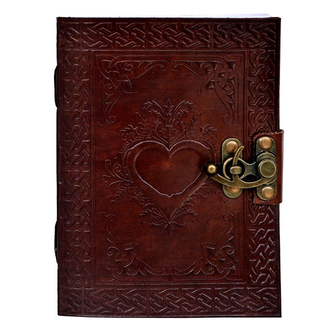Handmade Leather Journal Notebook Heart Embossed Diary Personal Organizer Daily