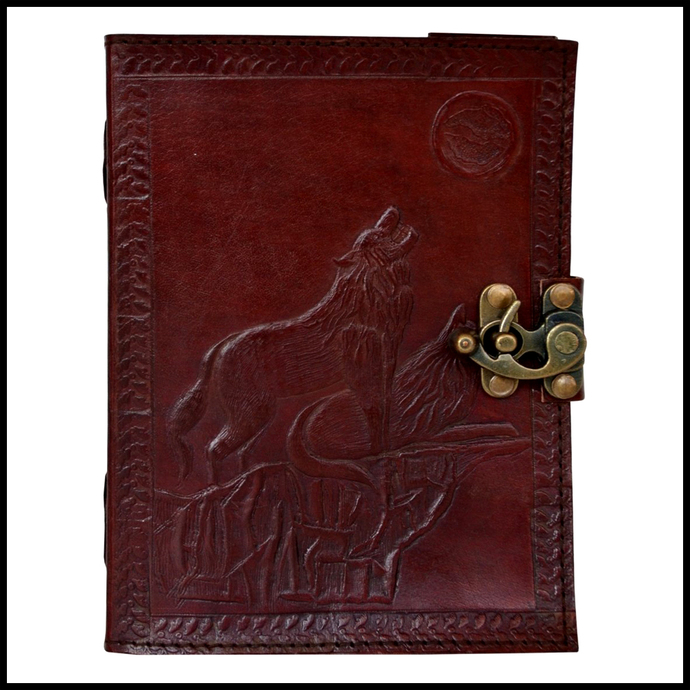 Leather Journal Howling Wolf of Night Embossed Writing Notebook Antique