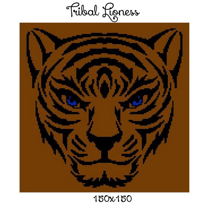 Tribal Lioness Blanket Crochet Graph Pattern