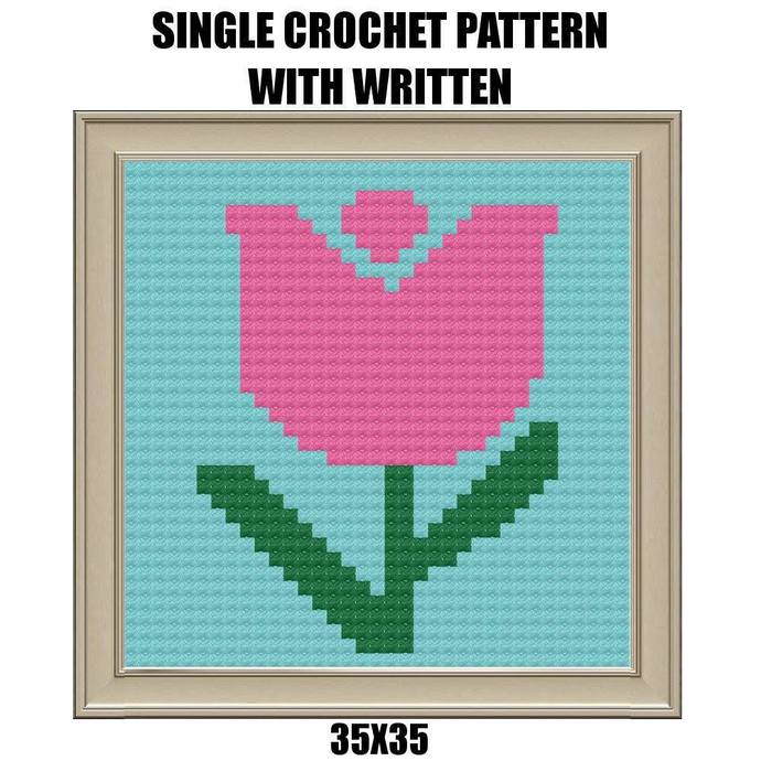 Tulip Dishcloth Crochet Graph Pattern