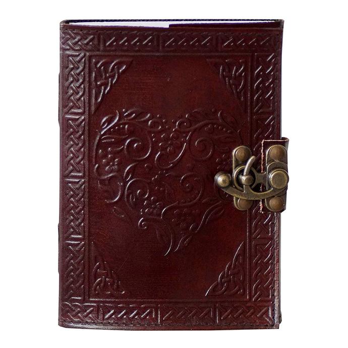 Leather Journal Love Heart Embossed Notebook Organizer Diary Office Handbook