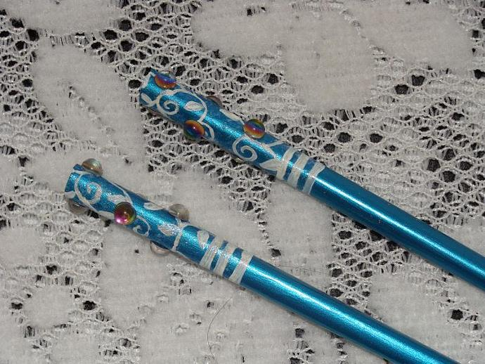 Blue Teal Hand-painted Hairsticks w/ White Vines