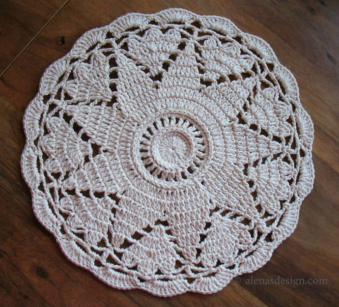 Crochet Pattern 238 Star Flower Placemat Round Placemat Lace Round Doily DIY