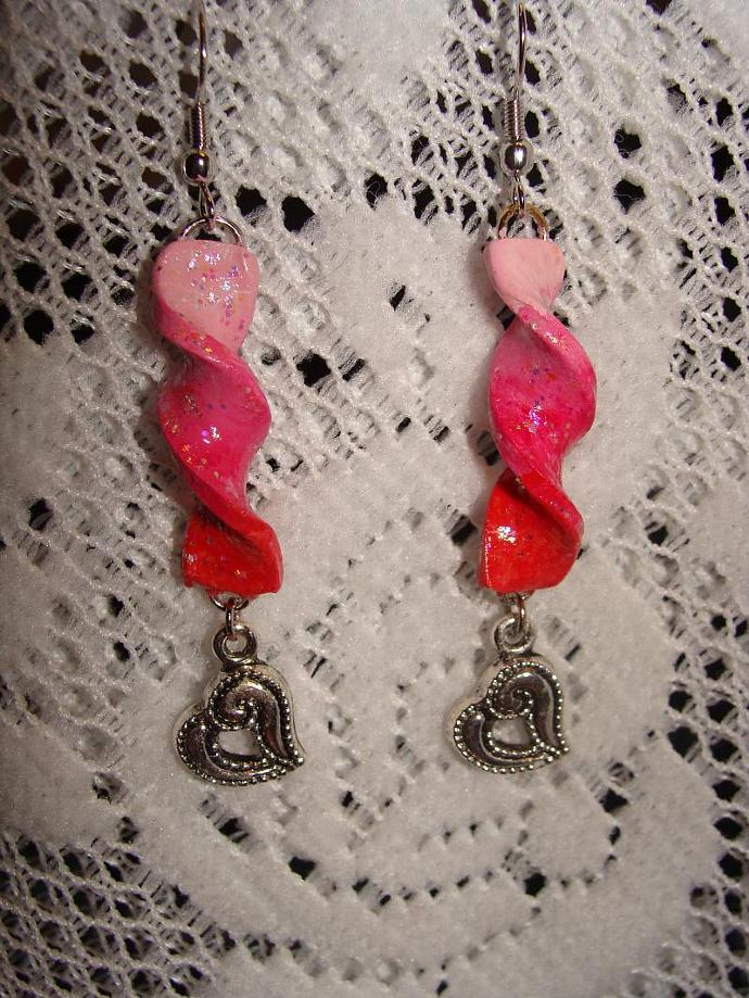 Hand-crafted Red Pink Ribbon Swirl Dangle Earrings w/ Heart Charms