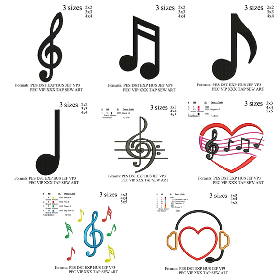 Copy of Musical note set embroidery design ,music note embroidery, embroidery
