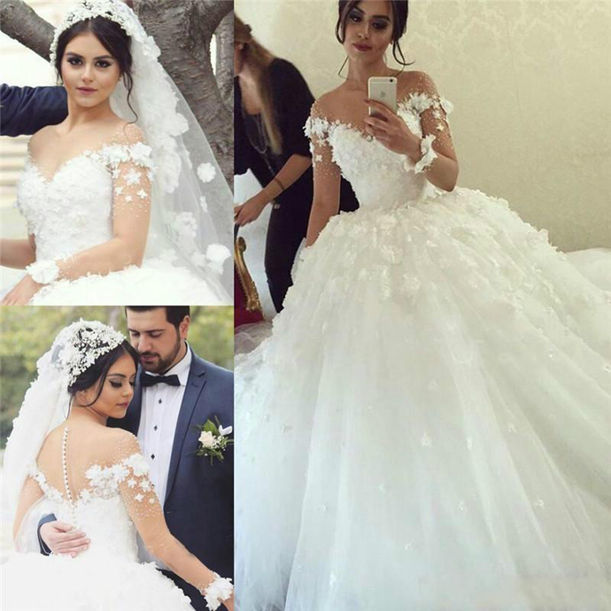 Amazing 2019 Long Sleeves Illusion Wedding Dresses Lace Appliqued Flowers Sheer