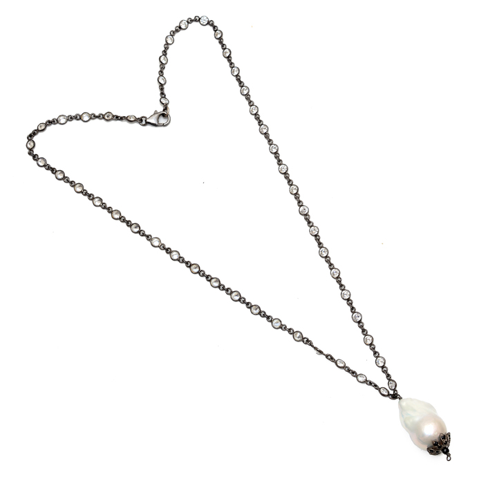 Fine Silver Cubic Zircon Link Chain Baroque Pearl Black Spinel Jewelry necklace