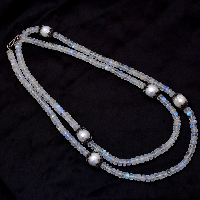 Fine Silver Baroque Pearl Moonstone beaded Black spinel Trendy necklace Jewelry