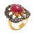925 Fine Silver Lavish Gorgeous Ruby Champagne Diamond Ring Jewelry