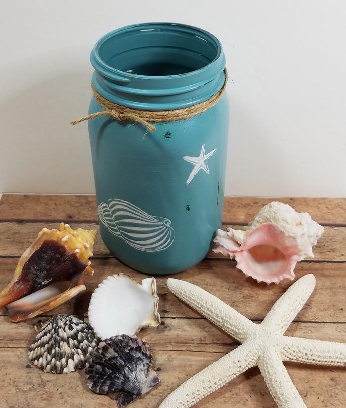Beachy Decor Upcycled Jar Handpainted
