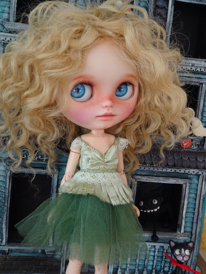 Green pure silk tutu dress by Cindy Sowers OOAK