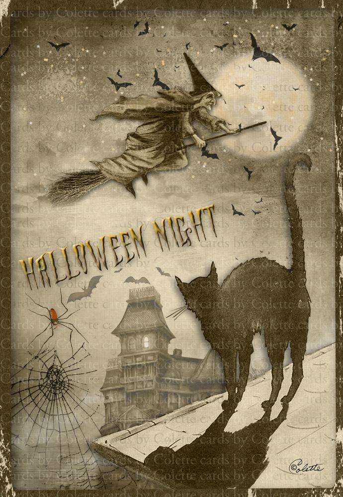 Halloween Night Digital Collage Greeting Card2345