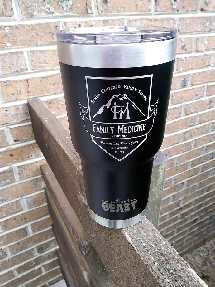 Laser engraved stainless drinkware