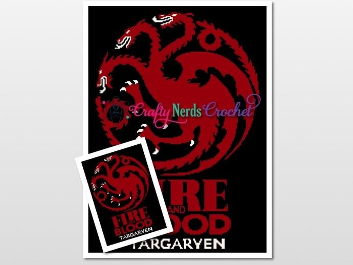 GOT Targaryan Sigil Pattern Graph With Single Crochet Written
