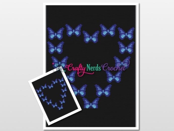 Blue Butterflies In Heart Pattern Graph With Mini C2C Written