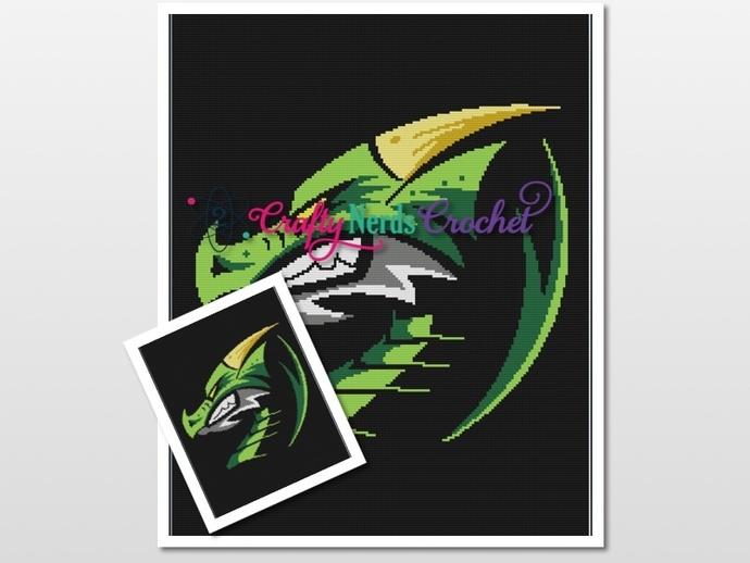 Green Dragon Pattern Graph With Single Crochet Written