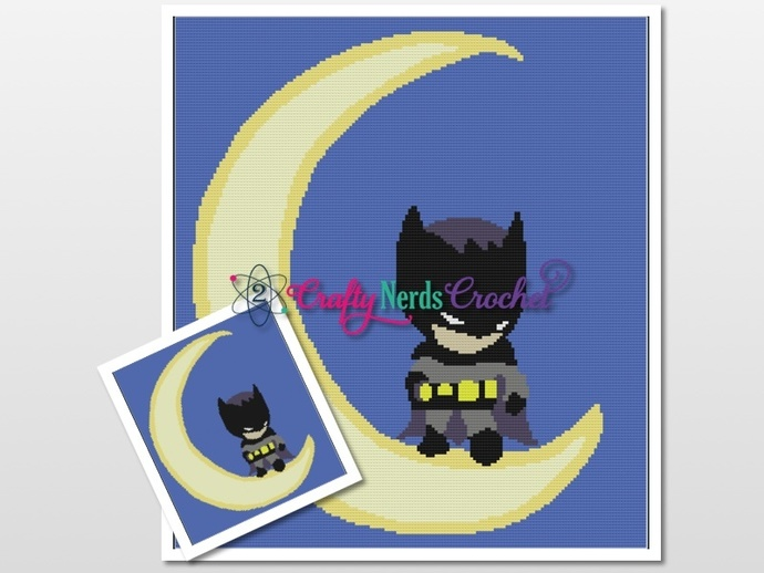 Batman and Moon Pattern Graph With Single Crochet and TSS Written