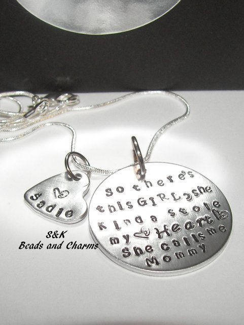 So there 's this girl custom hand stamped mom necklace, Custom personalized hand