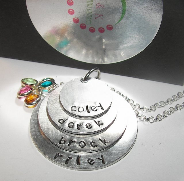 4 layer mothers necklace with kids names, Custom personalized mom necklace,