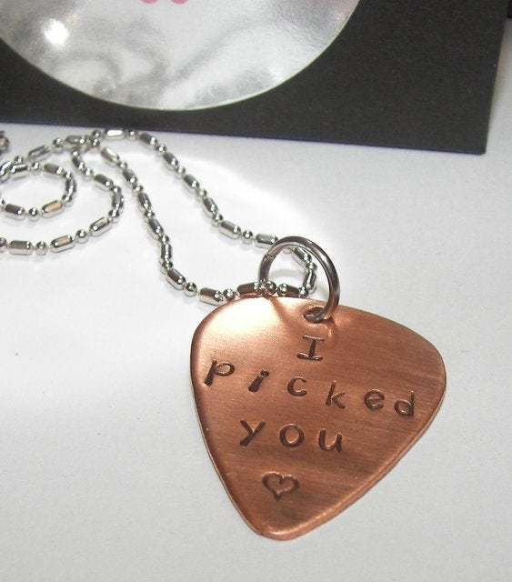 I picked you copper pick necklace, Fathers day gift personalized gift for dad,