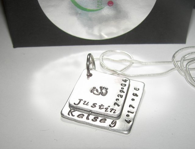 Sterling silver 2 layer Mommy necklace, Hand stamped jewelry, personalized