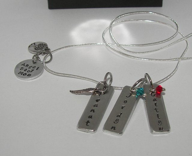 mothers bar necklace with kids names,  custom personalized hand stamped jewelry,