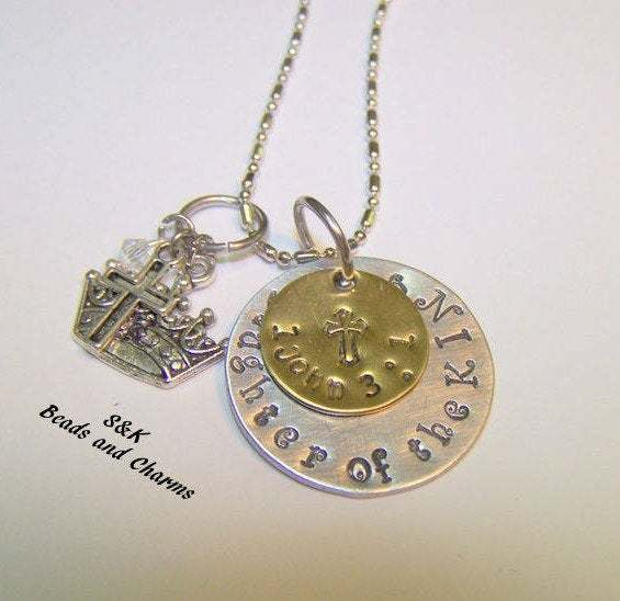 925 sterling silver, Hand stamped jewelry , Daughter of the king , personalized,
