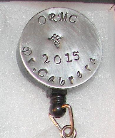 Name badge holder for  Nursing denta medical , custom personalized hand stamped