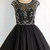 A Line Beading little Black Dress with Mesh