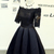 Off the Shoulder Lace Top Little Black Dress with Sleeves