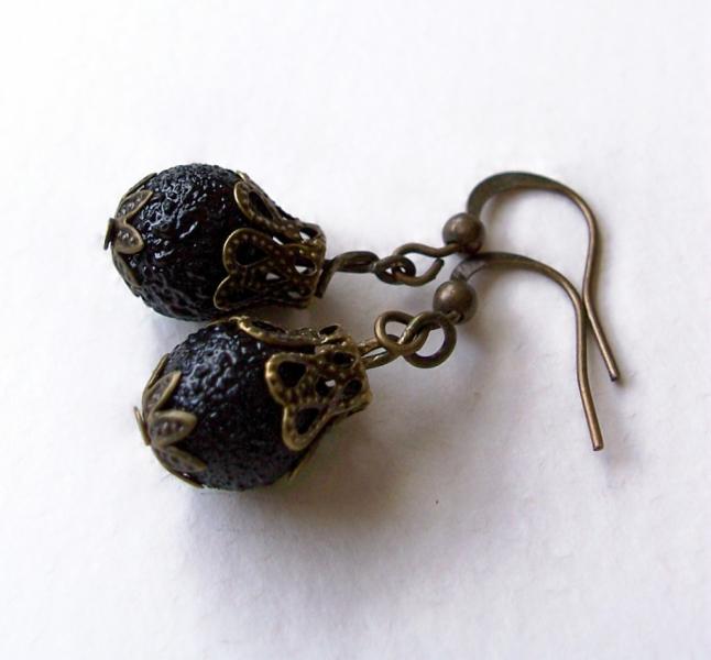 Vintage Style Black Glass  Antiqued Brass Earrings