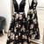 V Back Floral Print Black Long Evening Dress