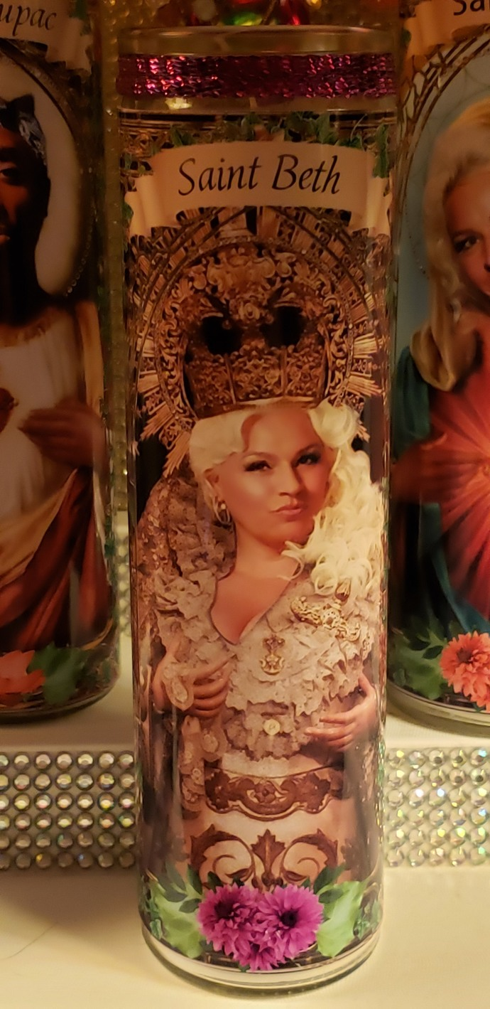 "Set of 2 Beth Chapman candles - 8"" Celebrity Saint Candle Church Window frame"