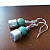 Silver Glass Cubes and Turquoise Glass Earrings