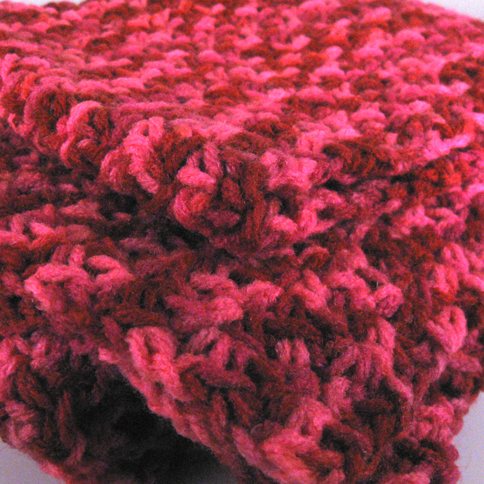 Red Pink Variegated Crocheted Scarf Gift for Mom
