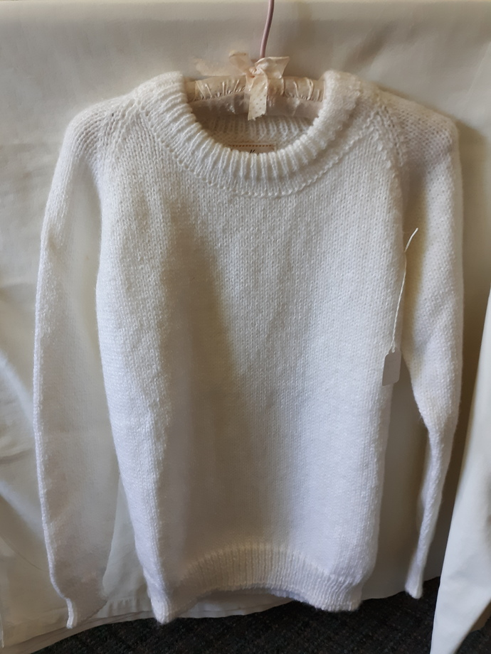 Acrylic white pullover sweater