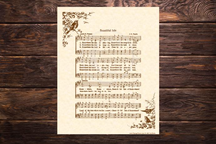 Beautiful Isle of Somewhere Vintage Verses DIY Print It Yourself Sheet Music