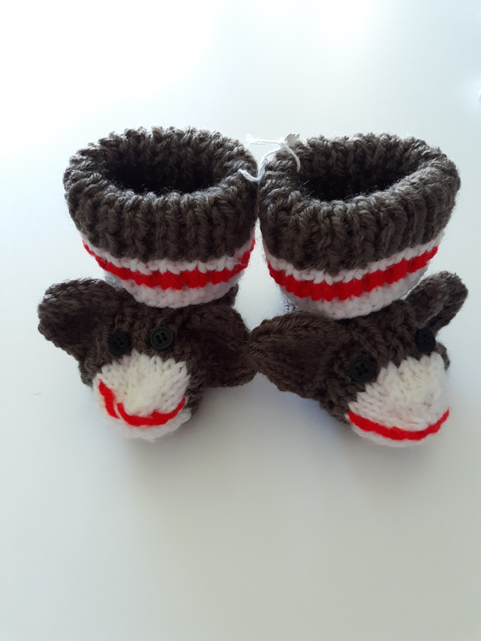 Sock monkey bootees size 3 months